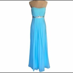 Dancing Queen aqua strapless lace up back gown